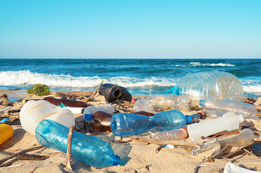 Spilled garbage on the beach of the big city. Empty used dirty plastic bottles. Empty used dirty plastic bottles. Dirty sea sandy shore of the Black Sea. Environmental pollution. Ecological problem 1135208857