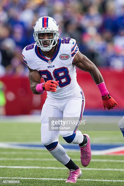 J Spiller of the Buffalo Bills breaks out of the backfield during a game against the Minnesota Vikings at Ralph Wilson Stadium on October 19 2014 in...