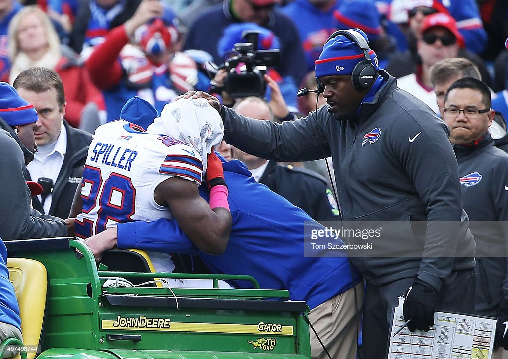 C.J. Spiller #28 of the Buffalo Bills is carted off the field after an injury against the Minnesota Vikings during the first half at Ralph Wilson Stadium on October 19, 2014 in Orchard Park, New York.