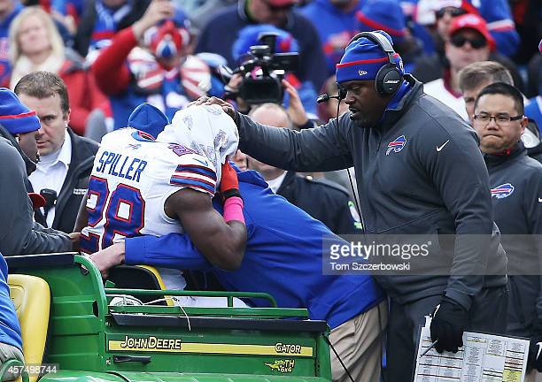 J Spiller of the Buffalo Bills is carted off the field after an injury against the Minnesota Vikings during the first half at Ralph Wilson Stadium on...