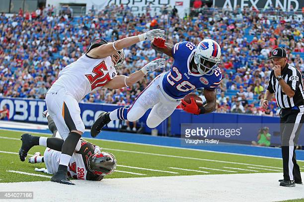 J Spiller of the Buffalo Bills is thrown out of bounds by Dane Fletcher of the Tampa Bay Buccaneers during the second half at Ralph Wilson Stadium on...