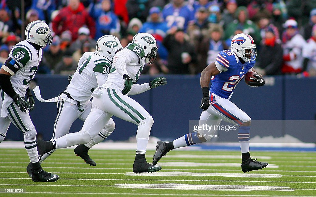 C.J. Spiller #28 of the Buffalo Bills runs against the New York Jets at Ralph Wilson Stadium on December 30, 2012 in Orchard Park, New York. Buffalo won 28-9.
