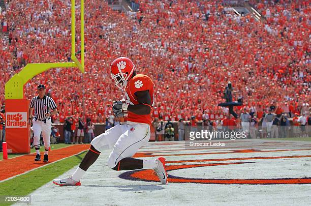 J Spiller of the Clemson Tigers runs into the endzone as the Clemson Tigers host visiting University of North Carolina Tar Heels during their game on...