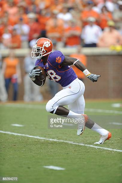 Spiller of the Clemson Tigers runs the ball against the Maryland Terrapins at Memorial Stadium on September 27, 2008 in Clemson, South Carolina. The...