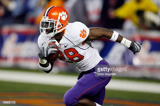 J Spiller of the Clemson University Tigers runs down the field during the ChickFilA Bowl on December 31 2007 at the Georgia Dome in Atlanta Georgia