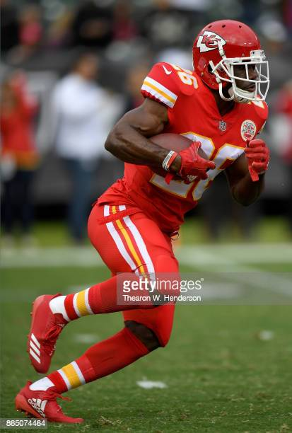 J Spiller of the Kansas City Chiefs warms up during pregame warm ups prior to playing the Oakland Raiders in an NFL football game at OaklandAlameda...