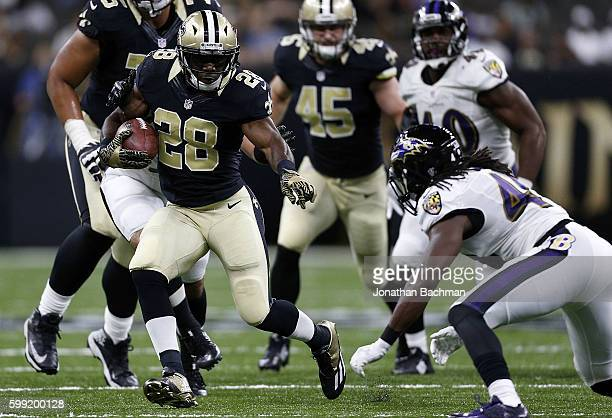 J Spiller of the New Orleans Saints runs with the ball during a game at MercedesBenz Superdome on September 1 2016 in New Orleans Louisiana