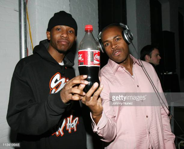 Spillz and DJ D Nice during Cherry Coke Features New Can Designed by Rocawear Founder JayZ Inside at 548 West 22nd Street in New York City New York...
