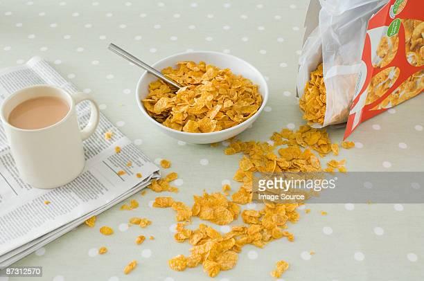 Spilt breakfast cereal