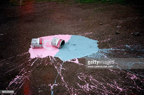 Spilt pink and blue paint