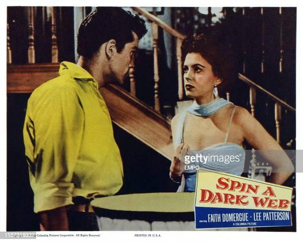 Spin A Dark Web US lobbycard from left Lee Patterson Faith Domergue 1956