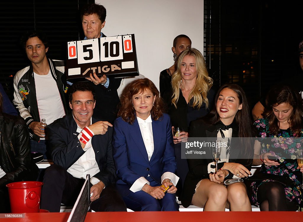 SPiN Co-Founder Franck Raharinosy, Andre Balazs, professional ping pong player Bella Livshin, Susan Sarandon and TV personality Chelsea Handler attend SPiN Standard Ping Pong Social Club grand opening hosted by Susan Sarandon and Andre Balazs at The Standard, Downtown LA, on December 11, 2012 in Los Angeles, California.