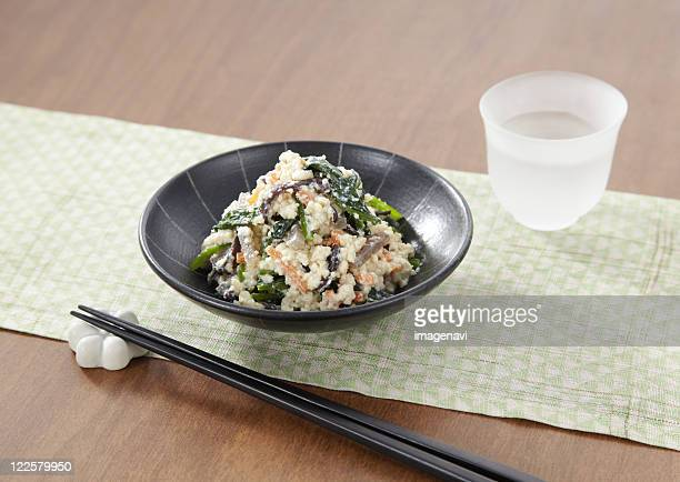 spinach dressed with mashed tofu - konjac stock pictures, royalty-free photos & images
