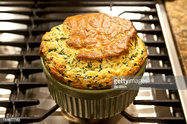 Spinach souffle just out of oven