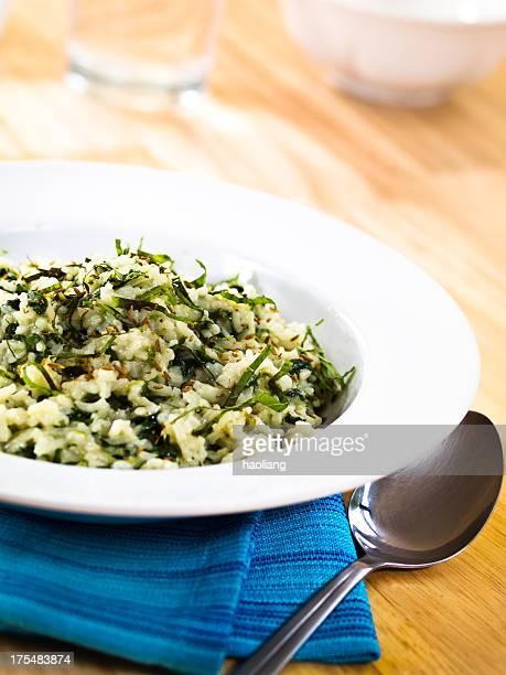 spinach&cumin pilaf with fresh mint