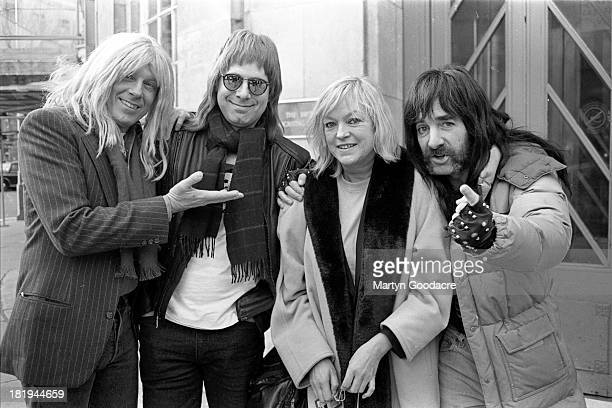 Spinal Tap pose with BBC DJ Annie Nightingale Broadcasting House London 1992