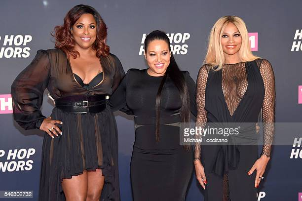 DJ Spinderella and Cheryl Salt James and Sandra Pepa Denton of SaltNPepa attend the VH1 Hip Hop Honors All Hail The Queens at David Geffen Hall on...