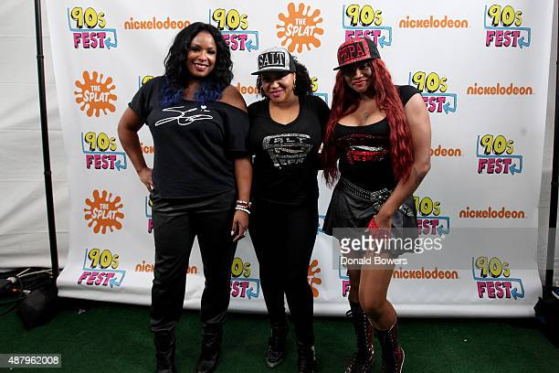 Spinderella Pepa and Salt attend the Nickelodeon sponsored 90sFEST Pop Culture and Music Festival on September 12 2015 in Brooklyn New York
