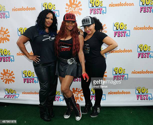 Spinderella Pepa and Salt of Salt and Pepa attend 90sFEST Pop Culture and Music Festival on September 12 2015 in Brooklyn New York
