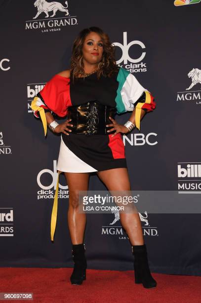 DJ Spinderella poses in the Press Room during the 2018 Billboard Music Awards 2018 at the MGM Grand Resort International on May 20 in Las Vegas Nevada