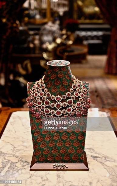 A spinel and diamond necklace designed by Indian couturier and jewelry designer Sabyasachi at Sabyasachi Jewelry his first flagship jewelry store in...