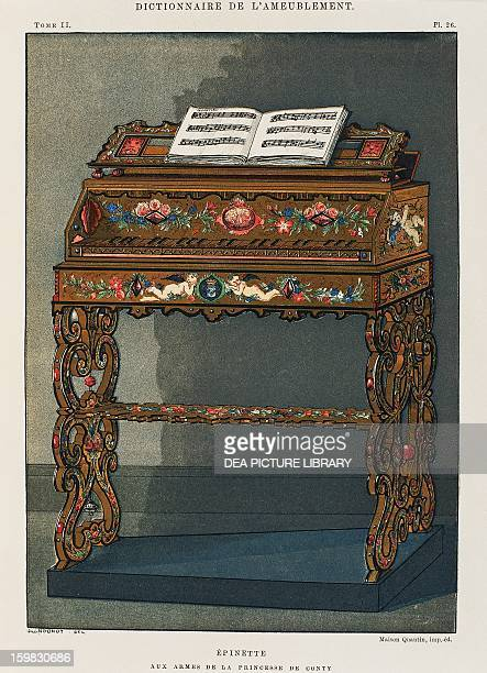 Spinet with the Princess of Conti's coat of arms engraving from Dictionary of Furniture and Decoration by Henry Havard Volume I 1878 France 18th...