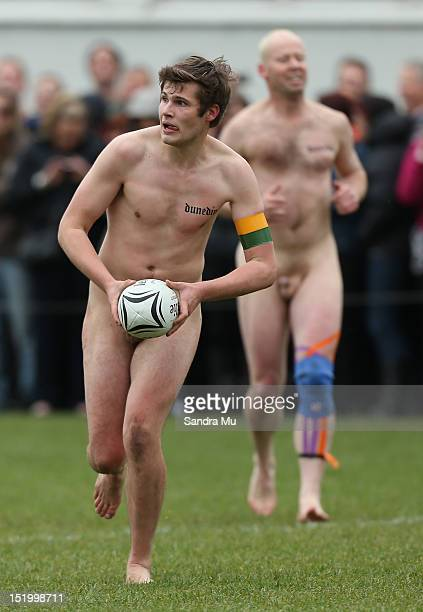 Spingbox player in action during the annual Nude rugby match between the New Zealand Nude Blacks and the South African Springbox at AlhambraUnion...