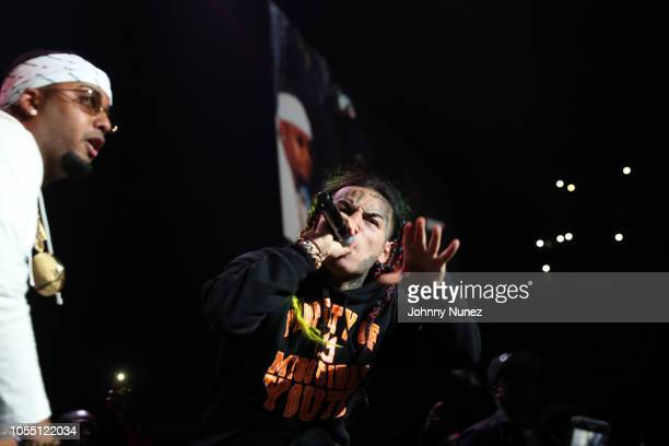SpinKing and 6ix9ine perform at 2018 Power1051 Powerhouse NYC at Prudential Center on October 28 2018 in Newark New Jersey