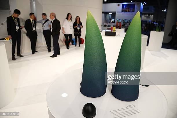 'Spinnaker' rhinoshaped desktop Bluetooth speakers with dome type remote control by Edifier are displayed January 6 2015 at the Consumer Electronics...