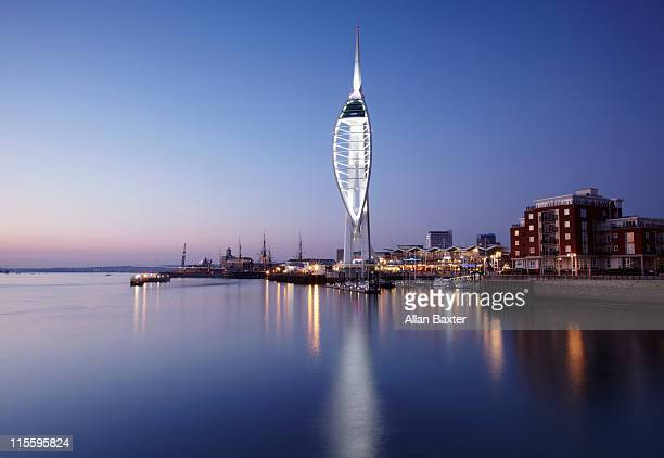 spinnaker tower, the centerpiece of portsmouth. - portsmouth england stock pictures, royalty-free photos & images