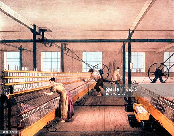 Spinning cotton with selfacting mules of the type devised by Richard Roberts in 1825 These could be powered by water wheel or steam engine and power...