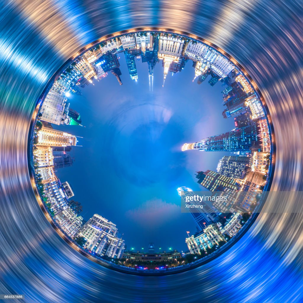 Spinning little planet, Cross section view of cityscape Shanghai bund : Stock Photo