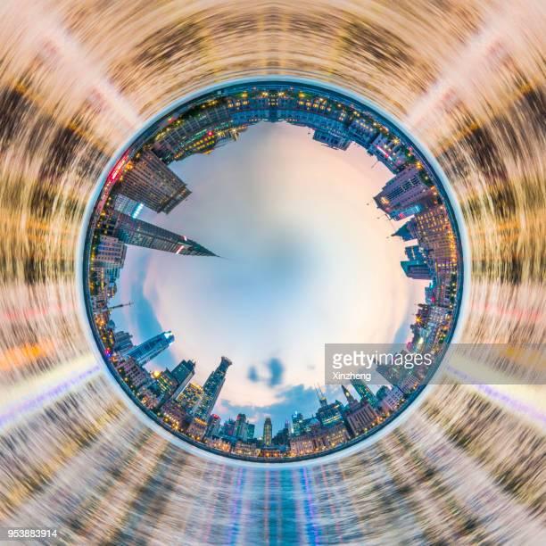 spinning little planet, cross section view of cityscape shanghai bund - formato de pequeno planeta - fotografias e filmes do acervo
