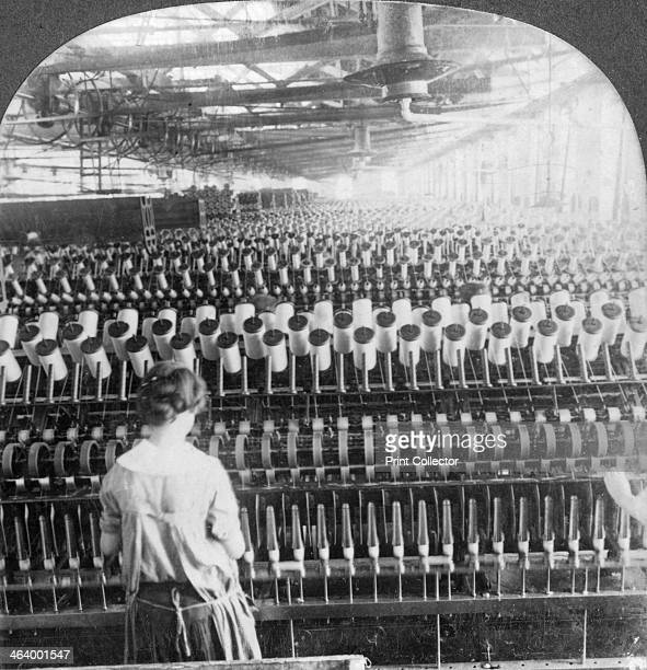 Spinning room, Philadelphia, Pennsylvania, USA, late 19th or early 20th century. Winding bobbins with woollen yarn for weaving. Stereoscopic card....