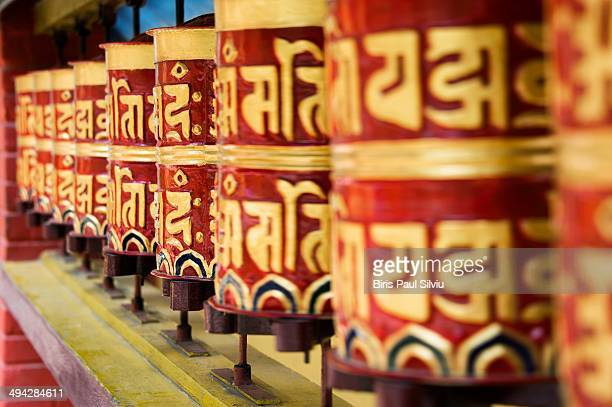 Spinning the prayer wheels in Tibetan Refugee Camp near Pokhara.
