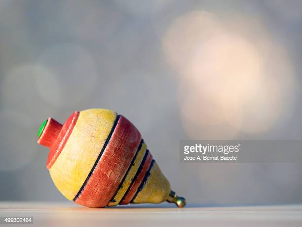 Spinning top of wood