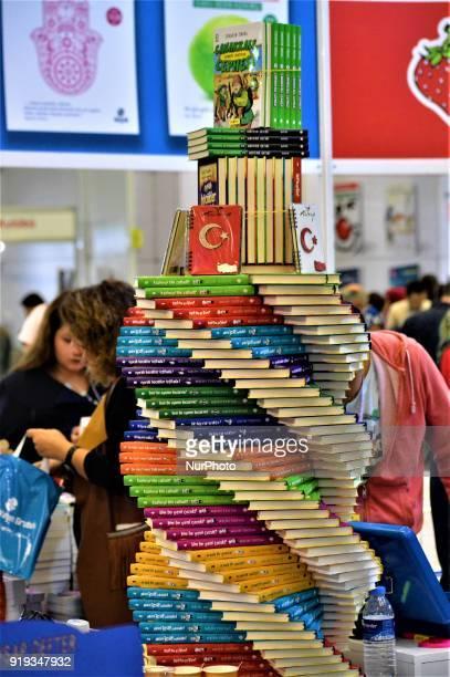 A spiral artwork made with books is seen during the 12th International Ankara Book Fair in Ankara Turkey on February 17 2018