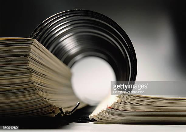 Spiral bound book, extreme close-up
