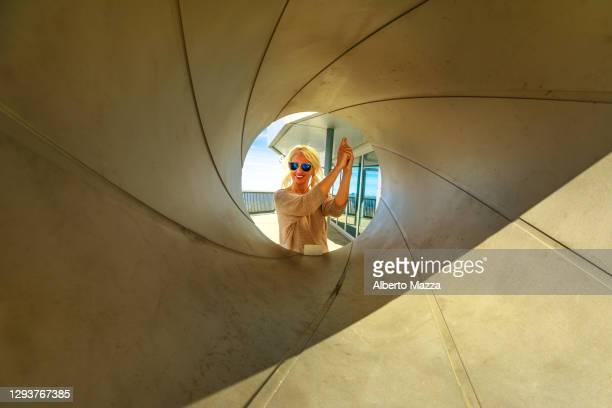 spiral gun barrel schilthorn - gunman stock pictures, royalty-free photos & images