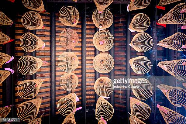 spiral incense sticks at thien hau temple - thien hau pagoda stock pictures, royalty-free photos & images