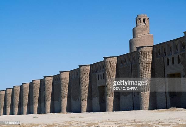 Spiral minaret and outer walls of Abu Dulaf mosque commissioned by AlMutawakkil Samarra Iraq