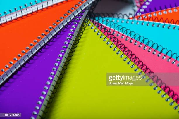 spiral notebooks, many colors - spiral notebook stock pictures, royalty-free photos & images