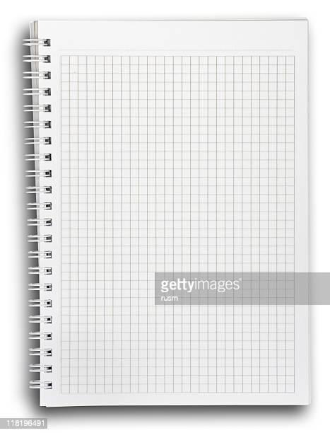 Espiral Bloc de notas en blanco con trazado de recorte de fondo