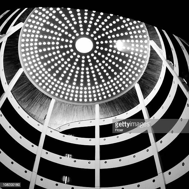 Spiral Parking Garage with Dome at Top, Black and White