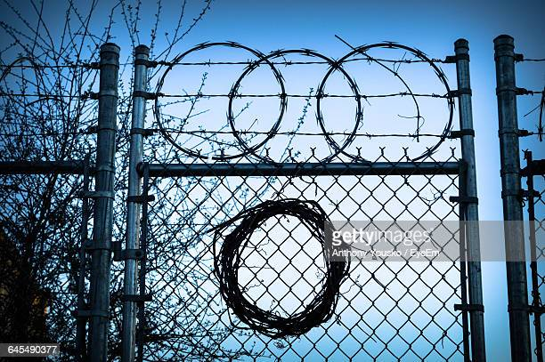 Spiral Razor Wire On Chainlink Fence Against Sky