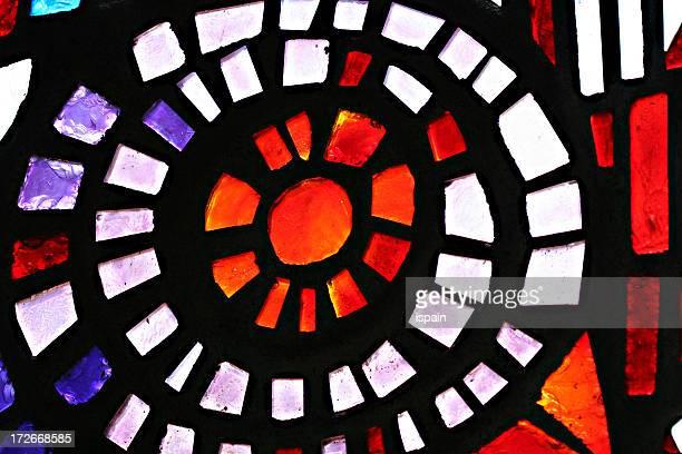 spiral stained glass detail - christendom stockfoto's en -beelden