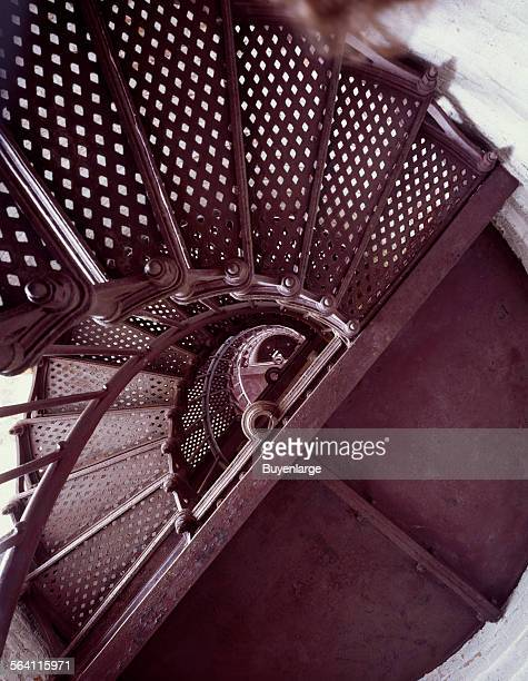 Spiral staircase at Thirty Mile Point Lighthouse overlooking Lake Ontario in Golden Hill State Park Barker New York