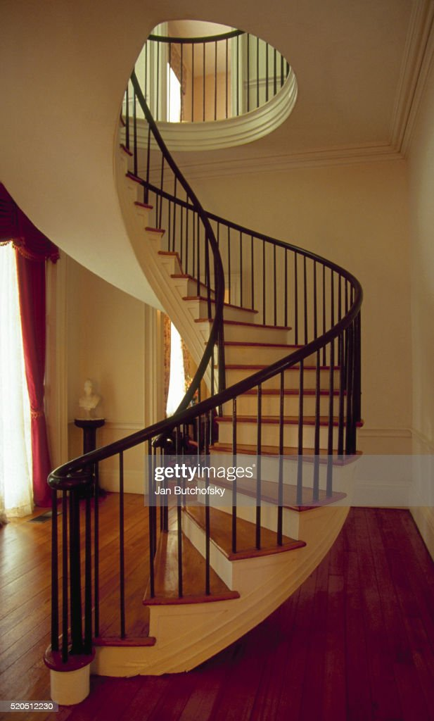 Spiral Staircase In Auburn Mansion : Stock Photo