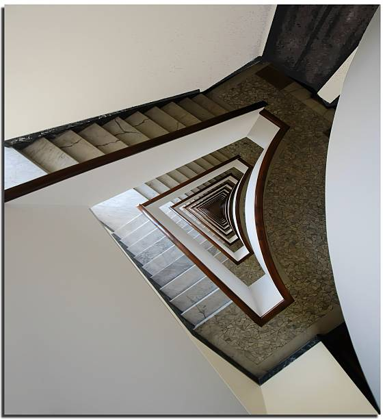 Spiral staircase in white