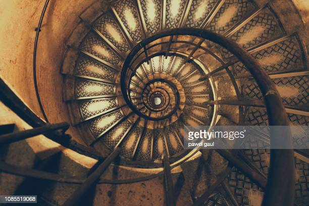 Spiral staircase inside of Arc de Triomphe Paris France